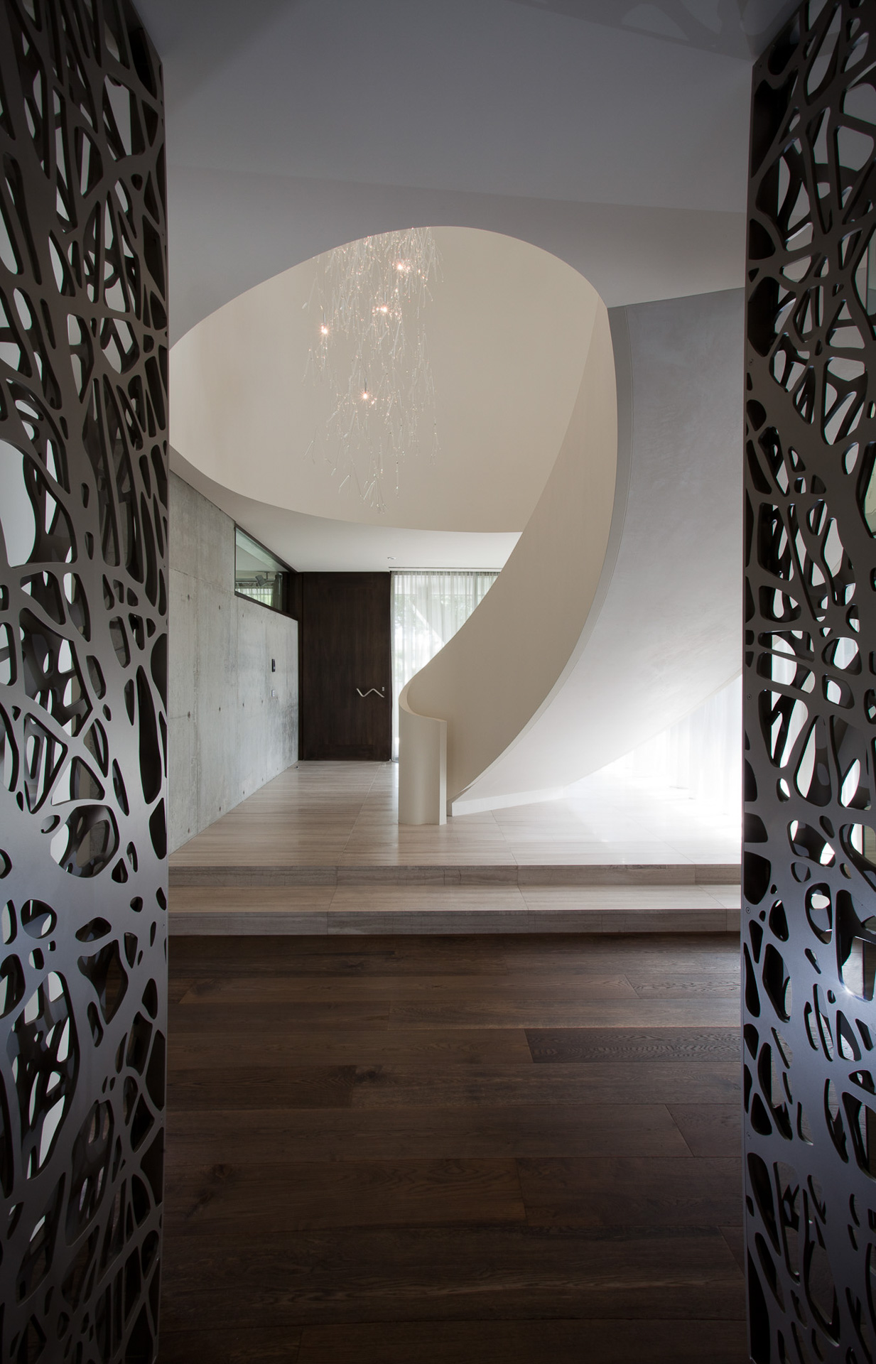 stunning entry, spiral starcase, curved straircase, Contemporary Home, Modern style, concrete feature, Brighton, Melbourne, Minka Joinry