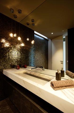 bathroom, ensuite, shower, marble bench, mable washpane, Contemporary, concrete feature, Brighton, Melbourne, Minka Joinry