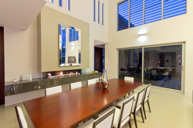 Kitchen, fireplace, living, dining room, pietra grey, Pietra marble, modern, Caesarstone, Minka joinery, luxury, Coolum