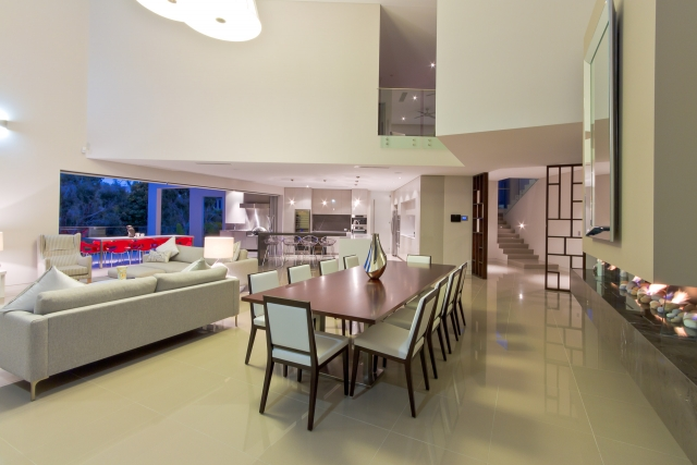 Kitchen, fireplace, living, pietra grey, Pietra marble, modern, miele, vintec, Caesarstone, Minka joinery, luxury, Coolum
