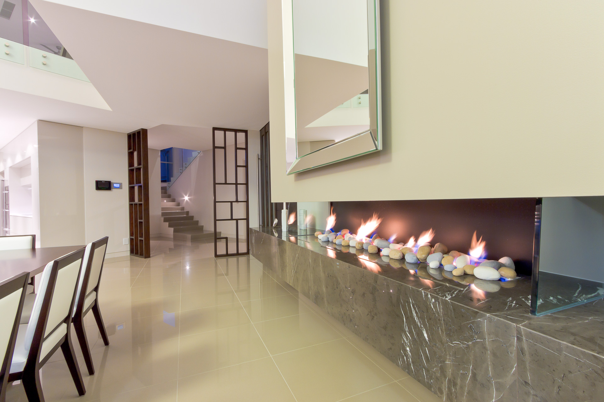 Kitchen, fireplace, living, pietra grey, Pietra marble, modern, Caesarstone, Minka joinery, luxury, Coolum