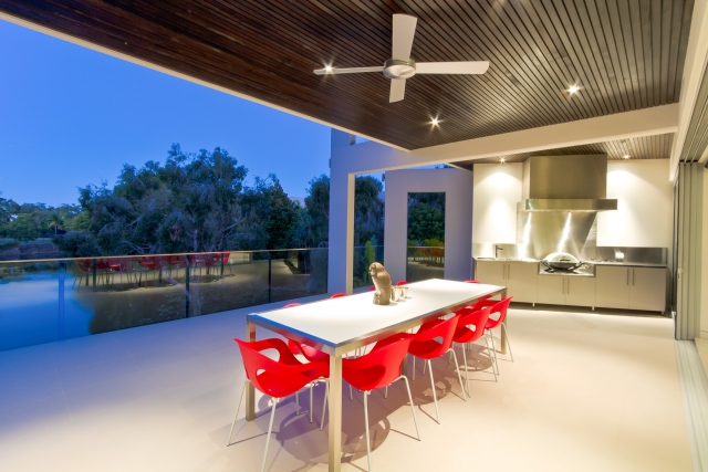 Kitchen, bbq, barbeque, alfresco, stainess steel, modern, miele, vintec, Caesarstone, Minka joinery, luxury, Coolum