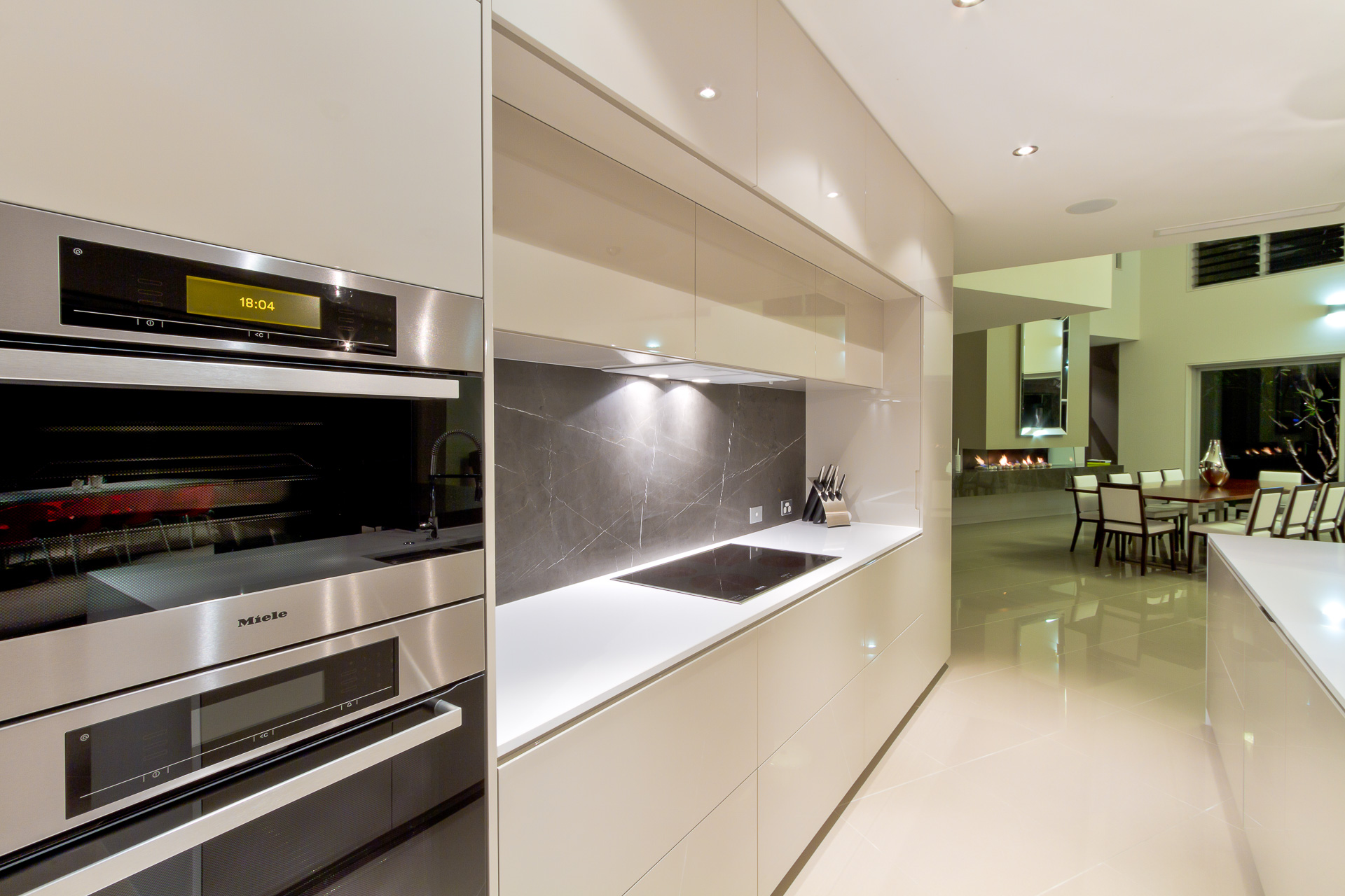 Kitchen, modern, gloss, 2 pack, pietra, Marble, miele, vintec, Caesarstone, Minka joinery, luxury, Coolum
