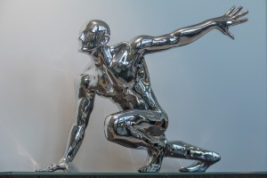sculpture, man, chrome man, custom joinery, furniture, luxury homes, minka joinery