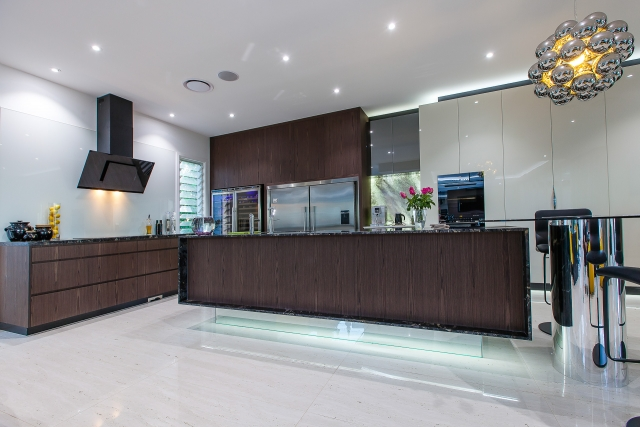 luxury kitchen, titanium granite, gloss 2 pack, vzug, vintec, mirror doors, back lit onyx, minka joinery