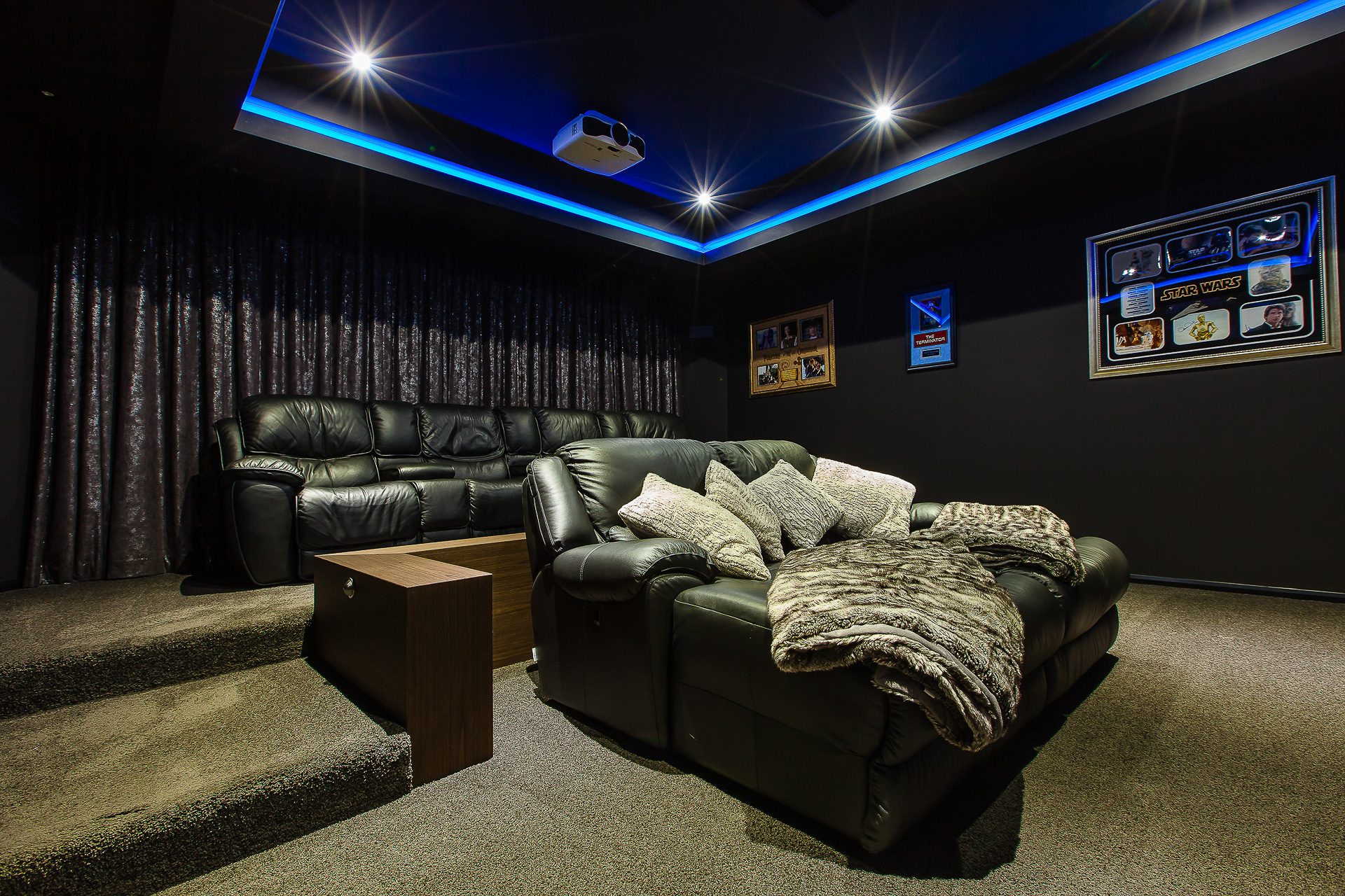 home cinema, home theater room, dark timber, luxury home, Buderim, custom cabinets, minka joinery