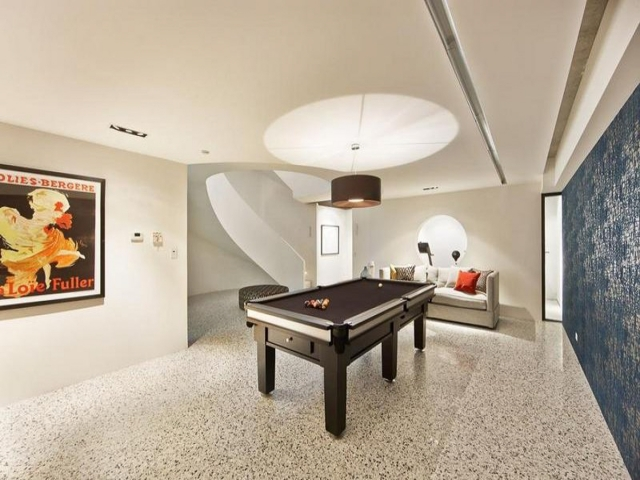 modern pool room, pool table, luxury house, snooker table, games room, curved staircase, melbourne, minka joinery