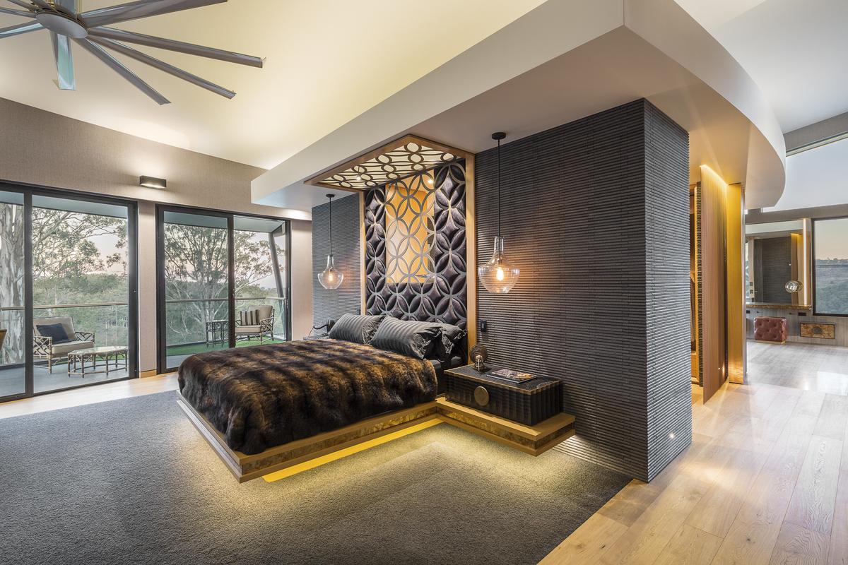 bedroom, custom bed, bespoke furniture, leather, crocodile skin, big ass fan, minka joinery