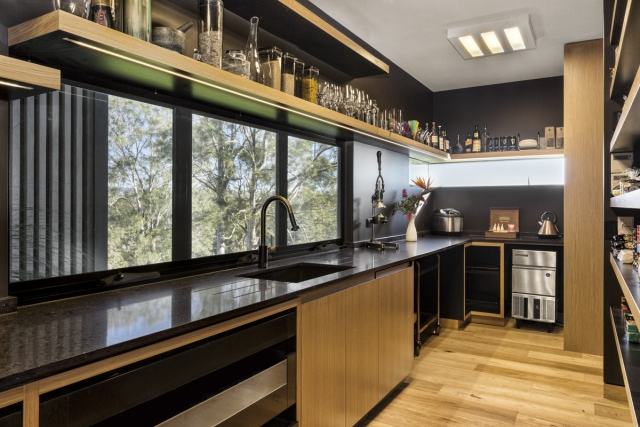 designer pantry, caesarstone benchtop, floating shelves, ice maker, blum intivo, custom corian sink, minka joinery