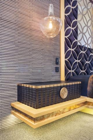 bespoke bed, custom bed, bedside table, leather, axolotl, hosowari stone, minka joinery