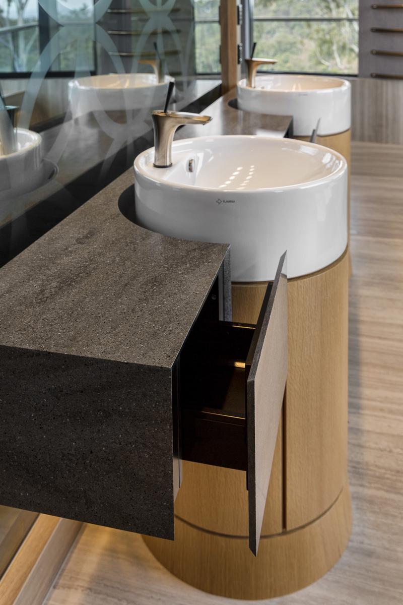 corian lava rock vanity, custom made, bathroom, curved vanity, veneer, luxury, designer, Minka joinery,