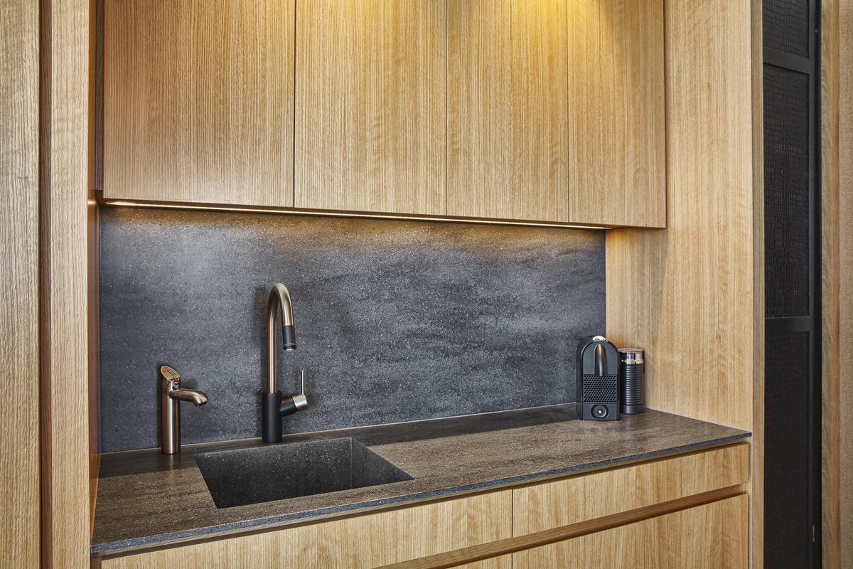 corian kitchenette, custom corian sink, lava rock, corian splashback, american oak, zip hot water, Minka Joinery