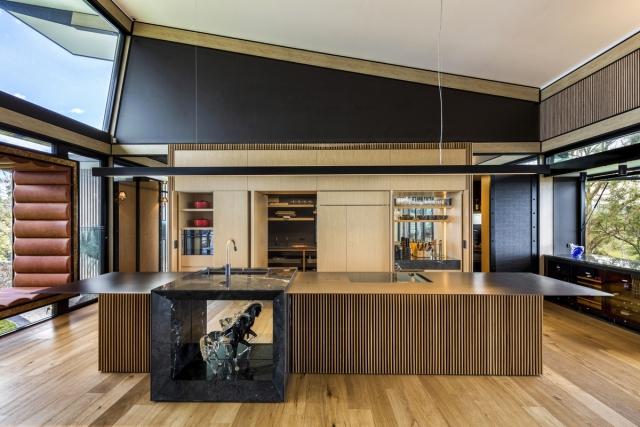 architect kitchen, sub zero fridge, miele, stainless bench top, marble feature, minka joinery