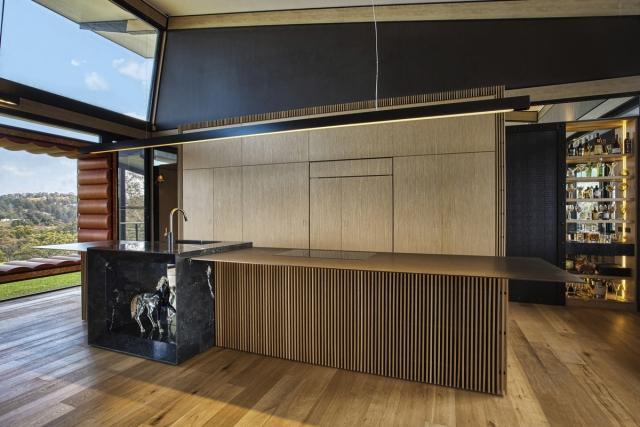 sub zero fridge, integrated fridge, wolf appliances, concealed kitchen handles, calcutta marble, minka joinery