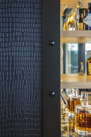 designer luxury kitchen, butlers pantry, scullery, bar, spirits bar, miele, leather door, custom door, minka joinery