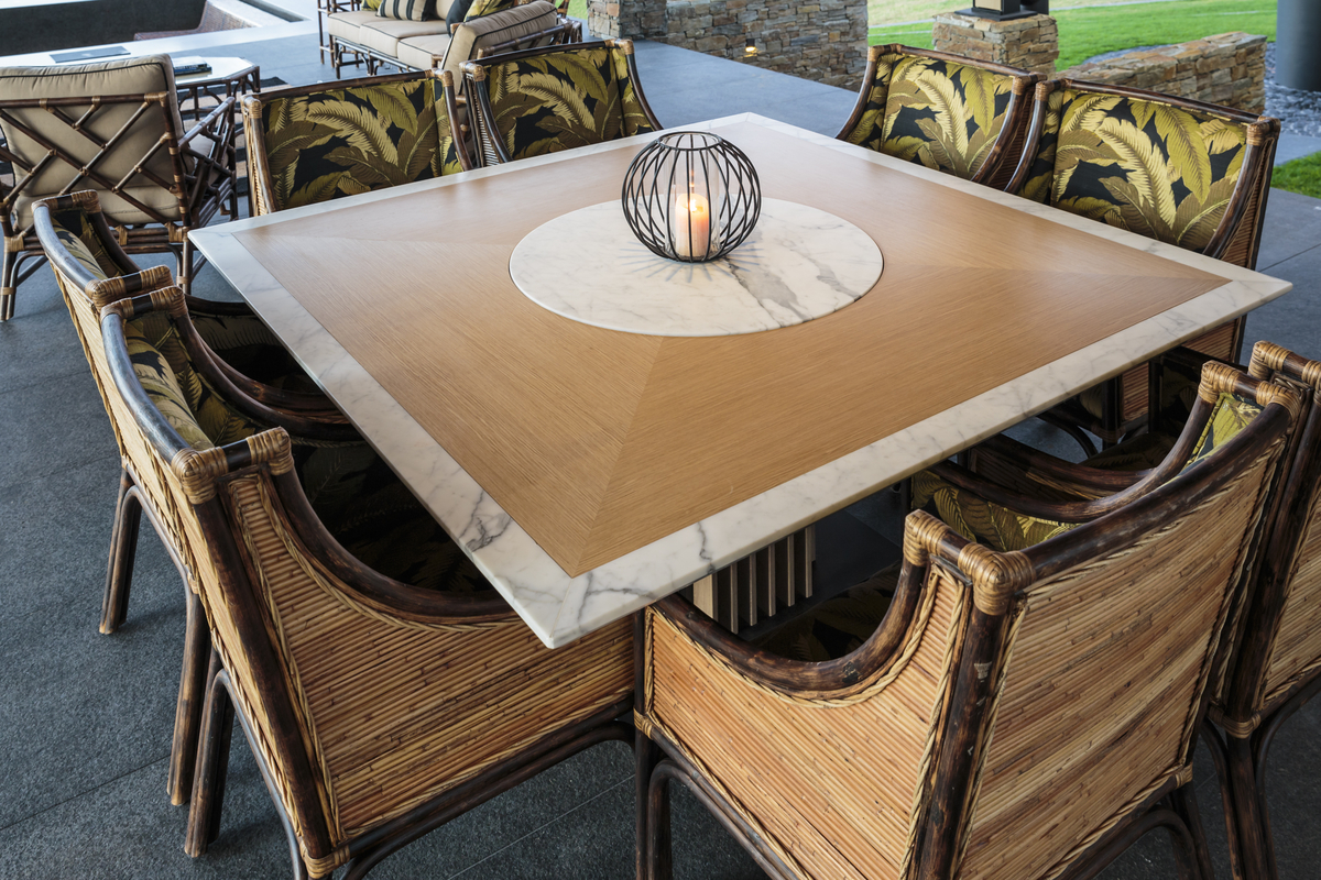 custom made dining table, marble lazy suzan, out door table, custom made table, designer table, minka joinery