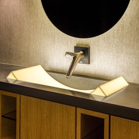 custom made corian sink, glacier ice, backlit sink, lava rock, minka joinery