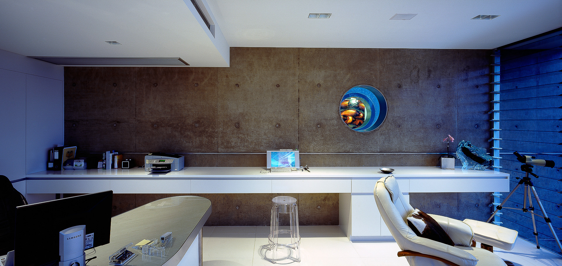 office, home office, study, corian, minimal, polished concrete walls, port hole, futuristic, minka joinery