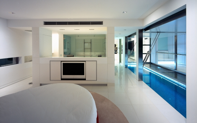 Bedroom, bed, custom made, White interior design, interiors, corian, glacier white, luxury, ultramodern, minimal, minka joinery