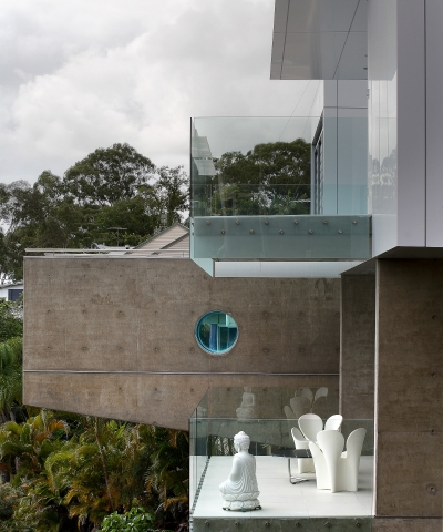 ultramodern house, cantilevered, overhanging pool, futuristic, monolithic, concrete, sunshine coast, minka joinery