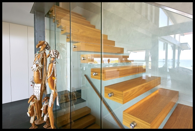 Architectural, industrial, interiors, beach house,custom made stairs, blackbutt timber, sunshine coast, minka joinery