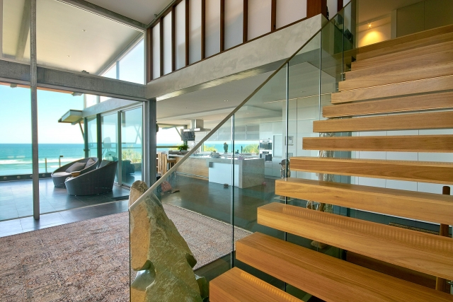 architect designed, custom stairs, ocean views, marble tops, industrial, interiors, acrylic, minka joinery