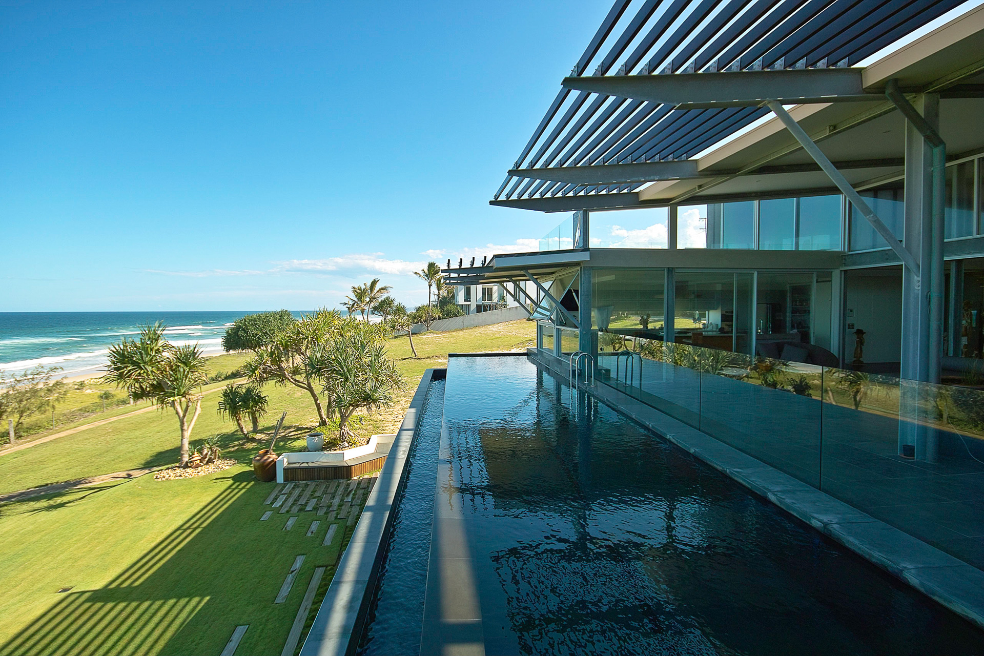 architect designed, pool, ocean views, marble tops, industrial, interiors, acrylic, minka joinery