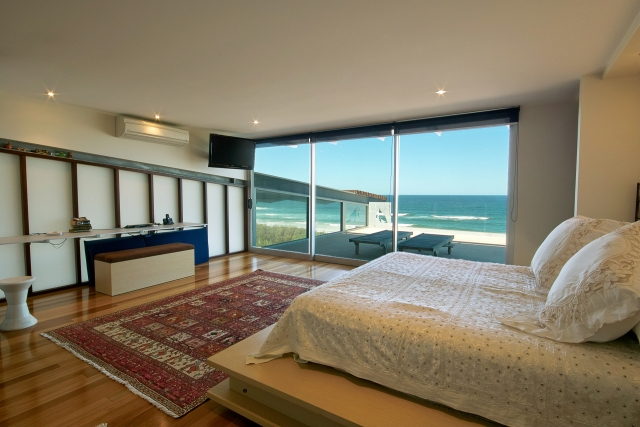 bedroom, custom made bed, new age veneer, industrial, beach views, interiors, minka joinery