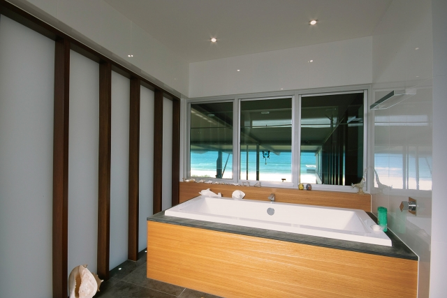 bathroom, bath, bespoke, new age veneer, industrial, beach views, interiors, minka joinery