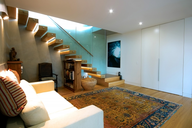 architect designed, custom stairs, marble tops, industrial, interiors, acrylic, minka joinery