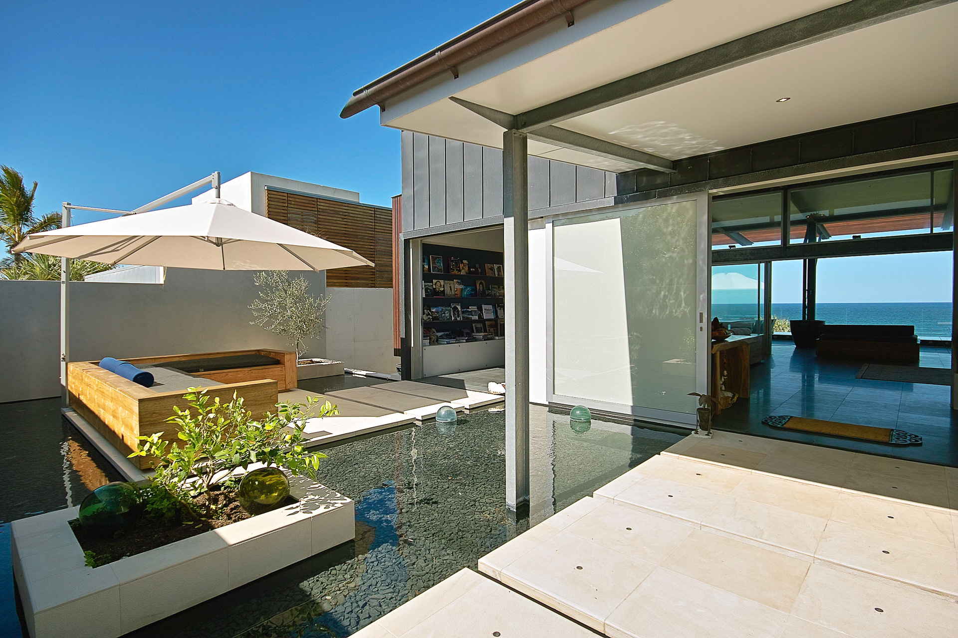 Architectural, industrial, interiors, beach house, beach, pool, sunshine coast, minka joinery