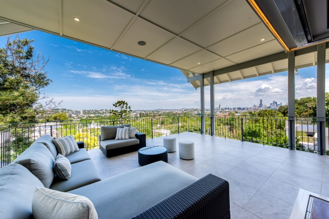 Luxury House, balcony, view of Brisbane, view of city, luxury interiors, minka joinery, Cowan Constructions, brisbane, queensland