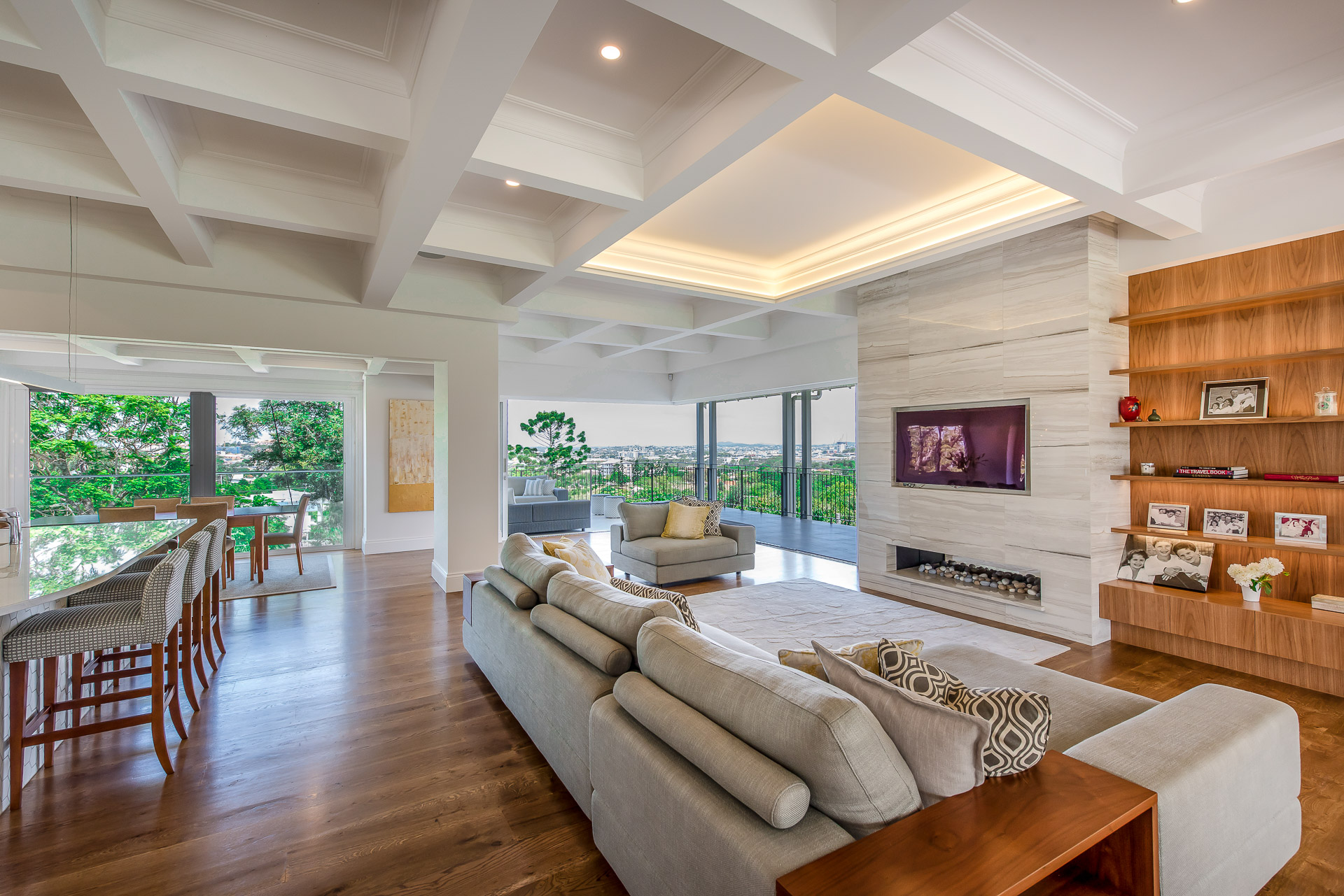 Luxury living room, fireplace, bookshelves, architecture, luxury interiors, minka joinery, Cowan Constructions, brisbane, queensland