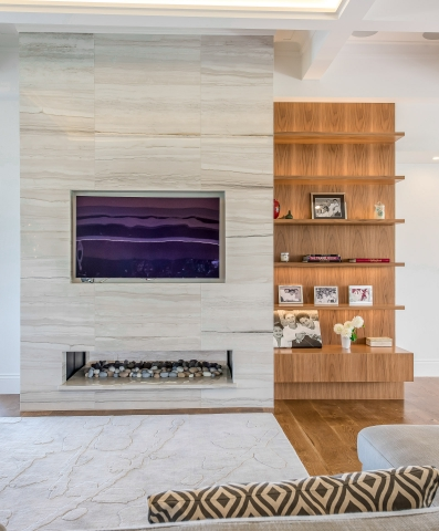 Luxury living room, floating book shelves, blackbutt, granite, architecture, luxury interiors, minka joinery, Cowan Constructions, brisbane, queensland