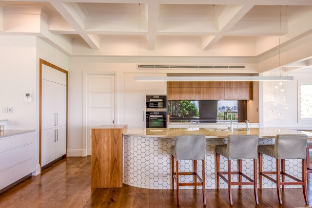 Luxury kitchen, hexagon tiles, blackbutt, white granite, miele, luxury interiors, minka joinery, Cowan Constructions, brisbane, queensland