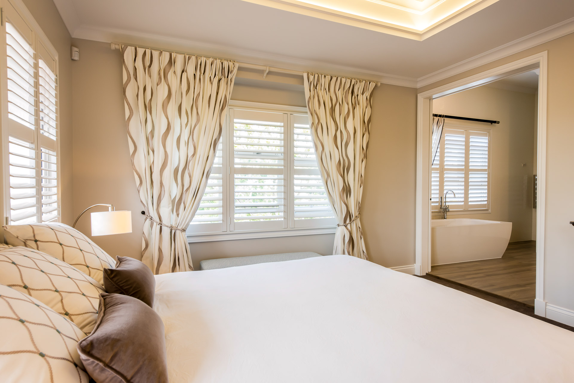 Luxury bedroom, architecture, luxury interiors, minka joinery, Cowan Constructions, brisbane, queensland