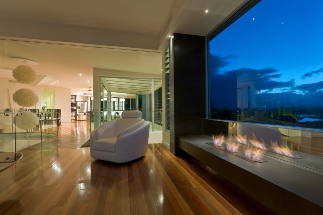 living room, fireplace, open plan, japanese kitchen, Resort Style Modern House, luxury interior, caesarstone, minka joinery