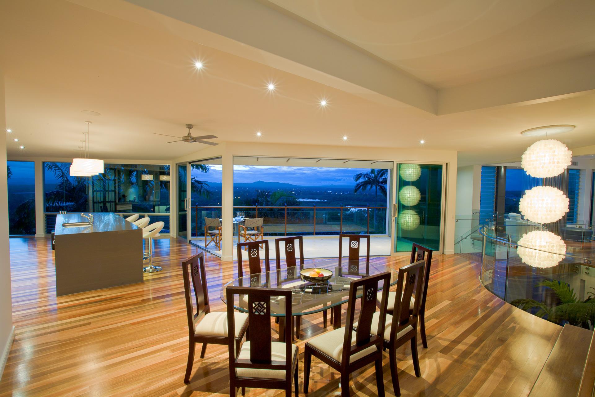dining room, open plan, japanese kitchen, Resort Style Modern House, luxury interior, caesarstone, minka joinery
